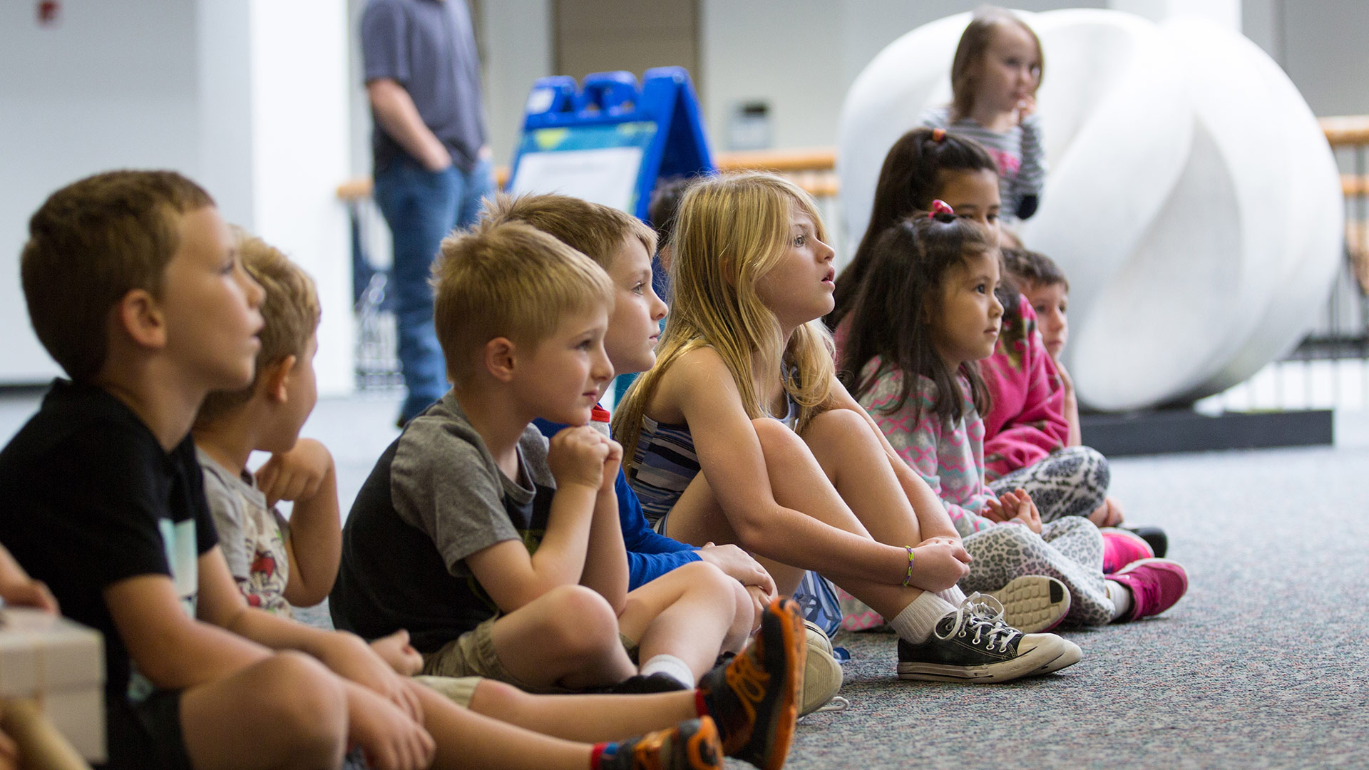 Students gathered during Family Art Day at UHCL.