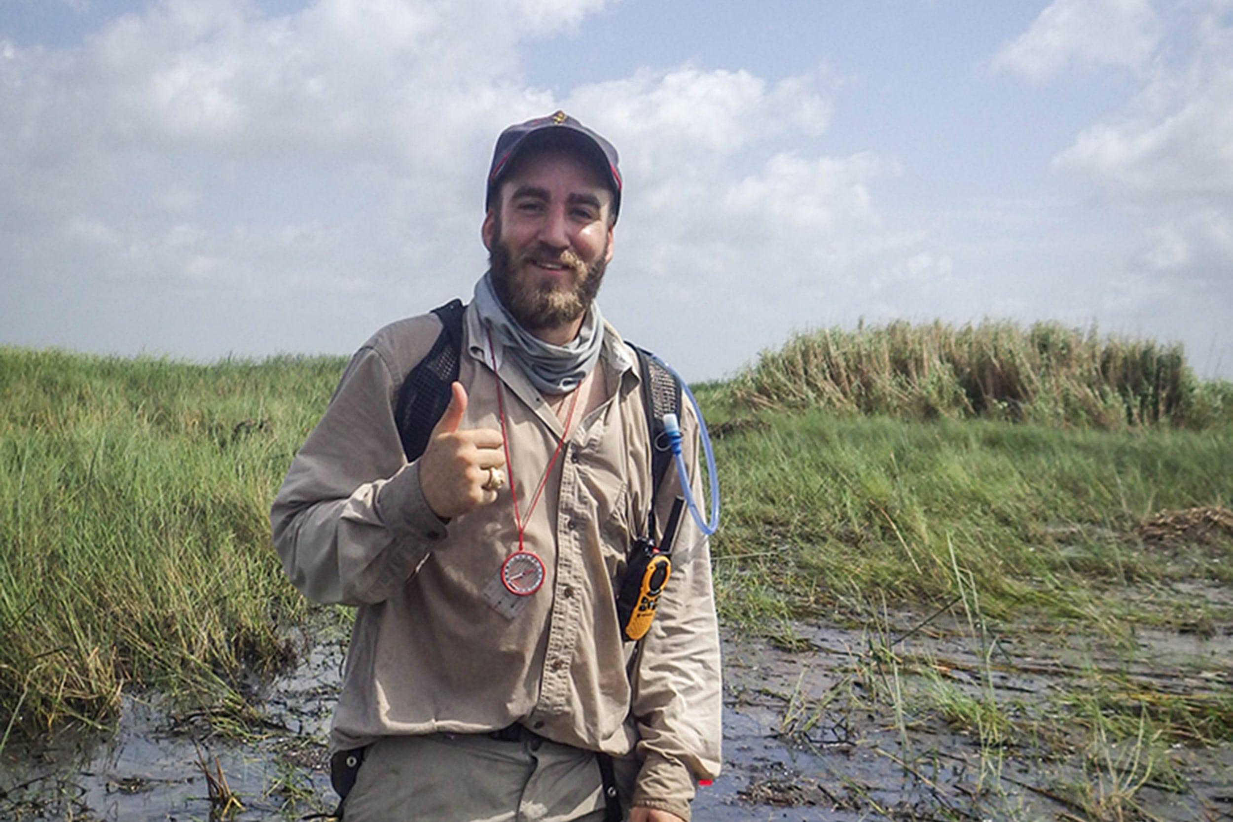 James Roundtree, wetlands technician, at a sampling site in Anahuac National Wildlife Refuge