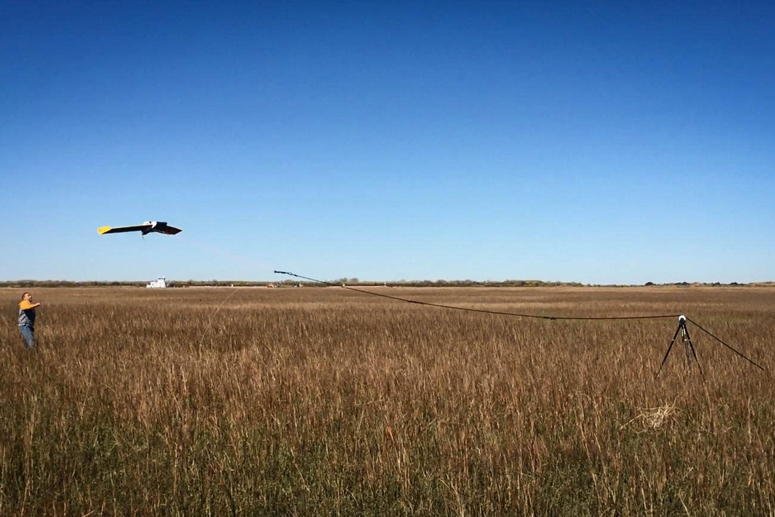 Marc Mokrech launches HAWK1, an unmanned aerial vehicle used for gathering data for EIH's research projects