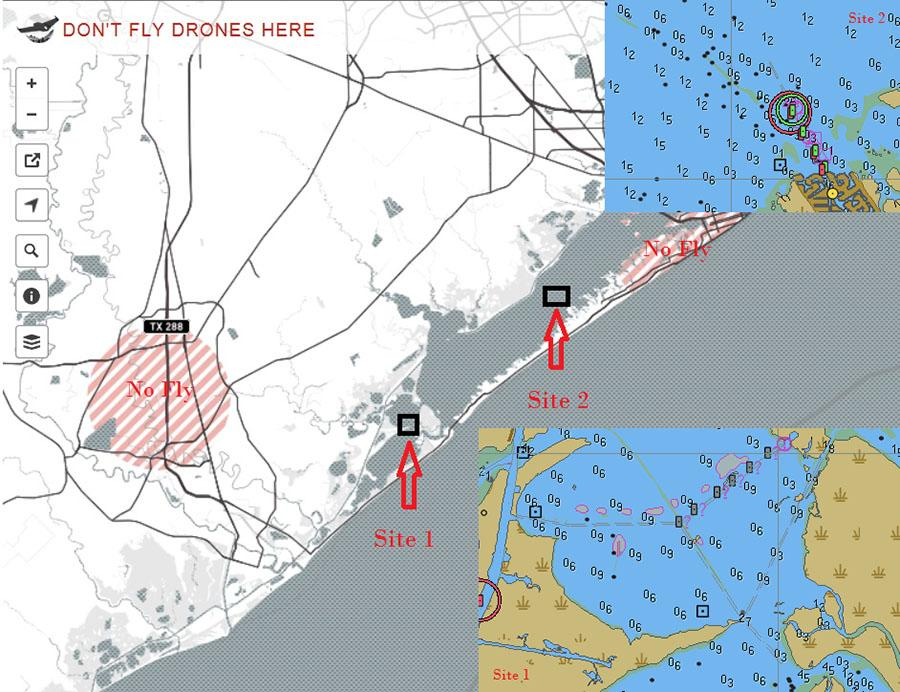 Screenshot of the no-fly zones for drones with illustrations of the two candidate sites for conducting this research: Site 1 is in Bastrop Bay; Site 2 is the Carancahua Reef area located in West Bay.