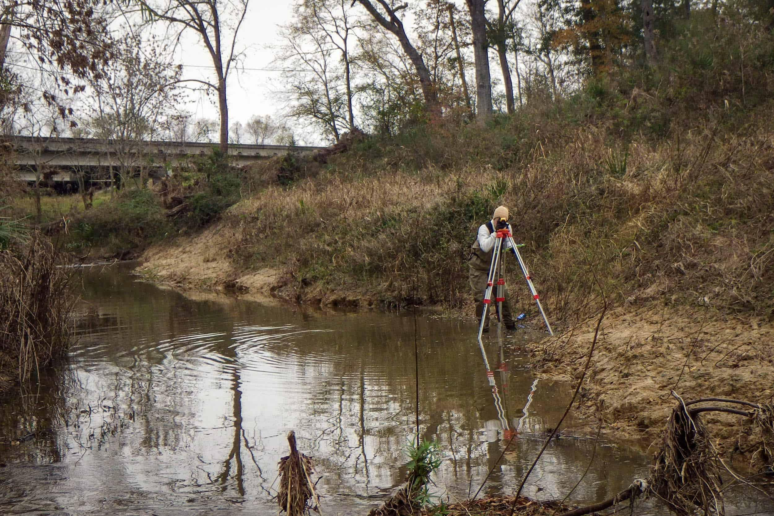 Taking Slope Measurements At Cedar Bayou