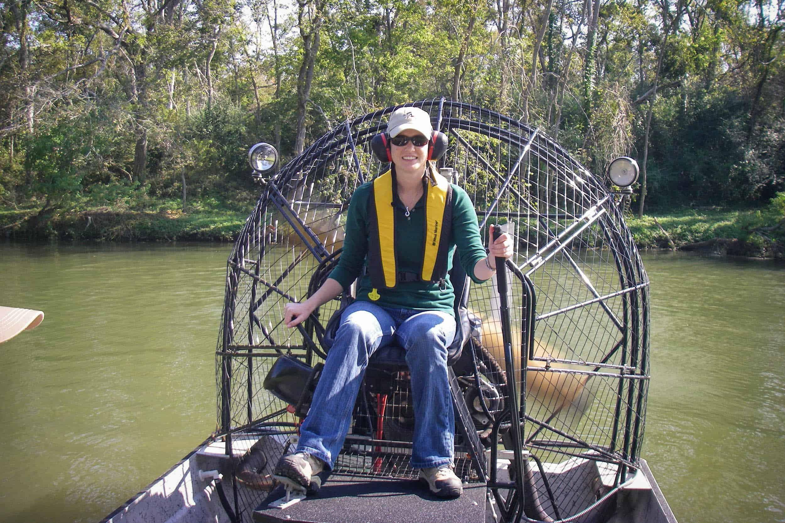 Jenny Oakley gets her turn at an airboat driving lesson