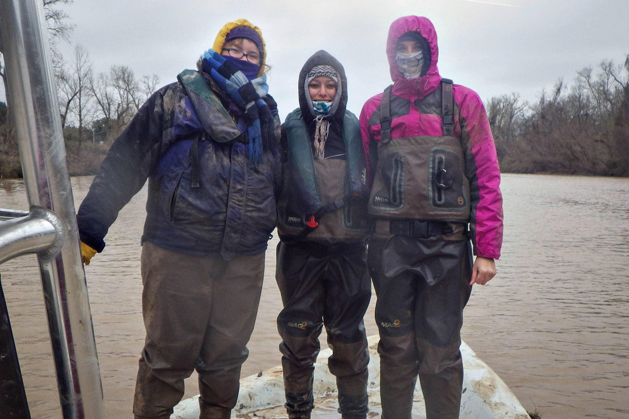 The beam trawl crew: Natasha Zarnstorff, Sherah Loe and Josi Robertson