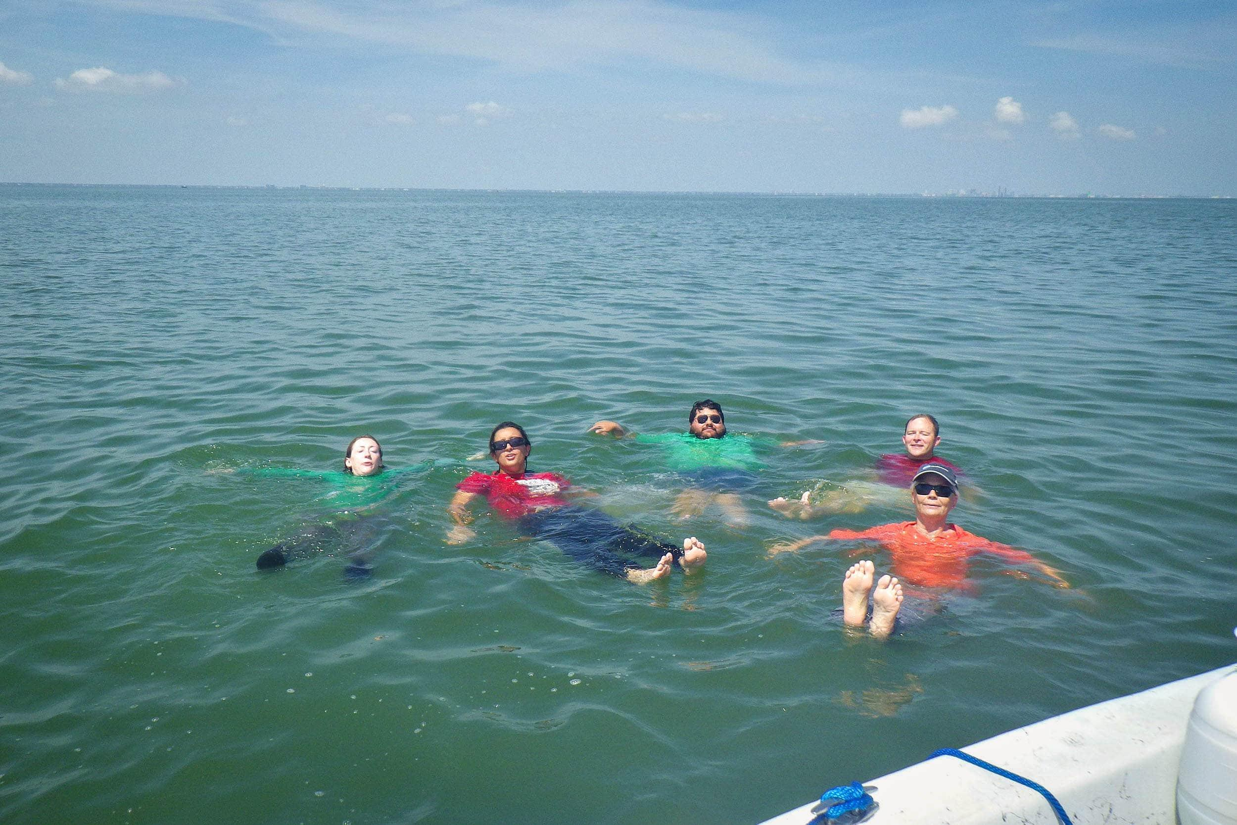 EIH NCCA crew enjoy a dip after completing their NCCA sampling in Corpus Christi Bay.