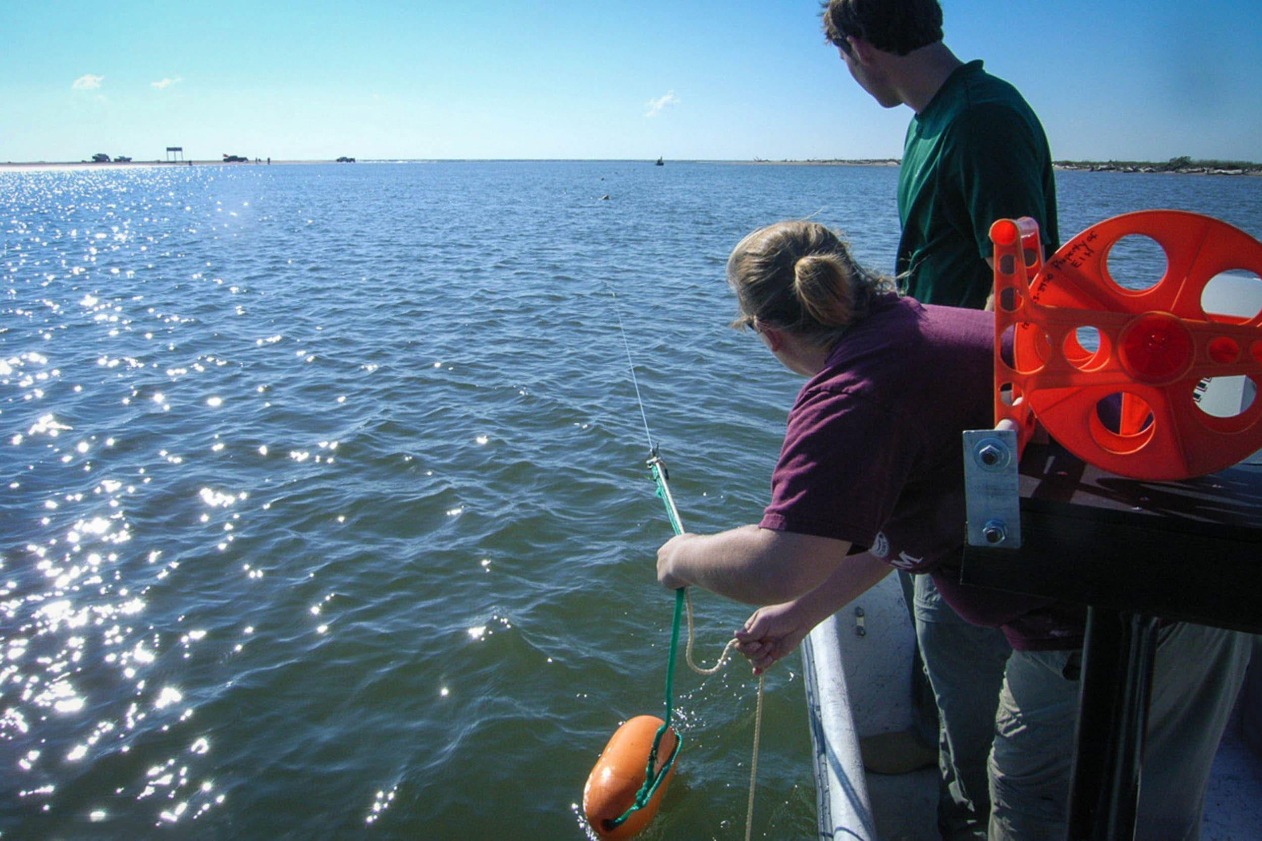 Alex Miller, research assistant, and Mandi Moss, research associate, deploy a long-line at the mouth of the Brazos River.