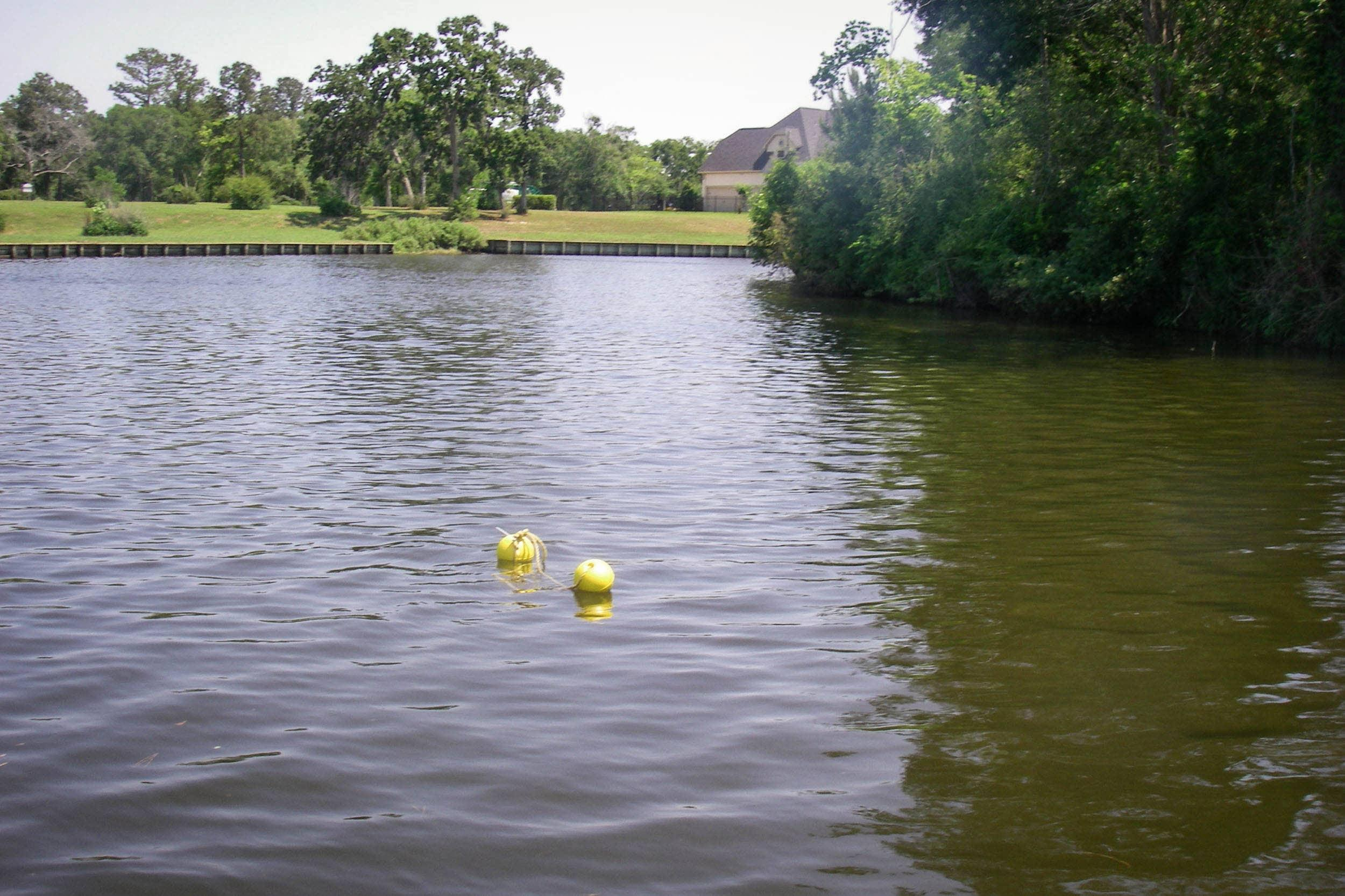 Samplers were suspended near the sediment/water interface by attaching them to a line that had floats on the surface and a weight at the bottom to keep the samplers vertical.