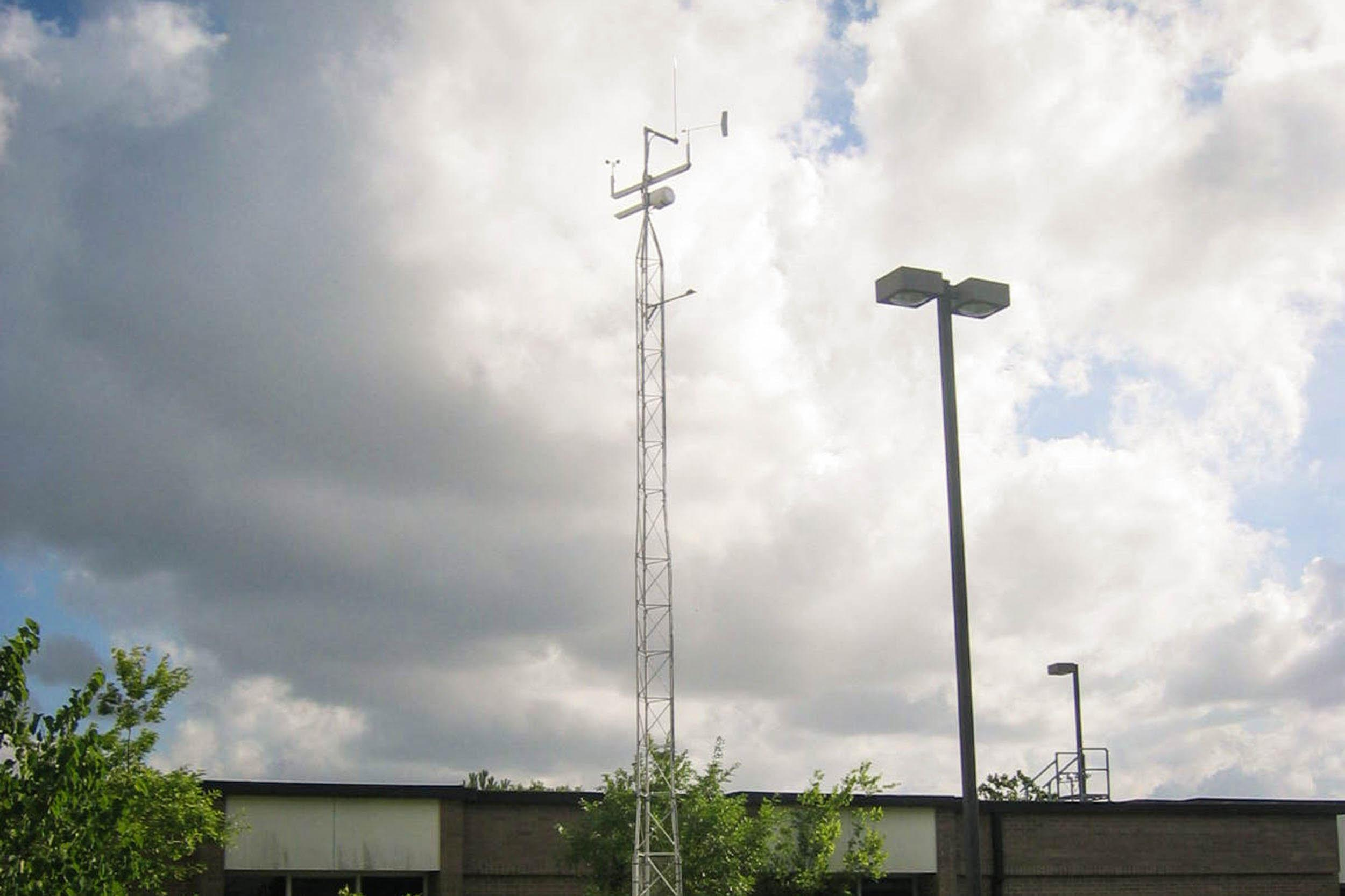 Meteorological tower and equipment at Clear Brook High School allowed the students to study the weather with a complete set of real time parameters.