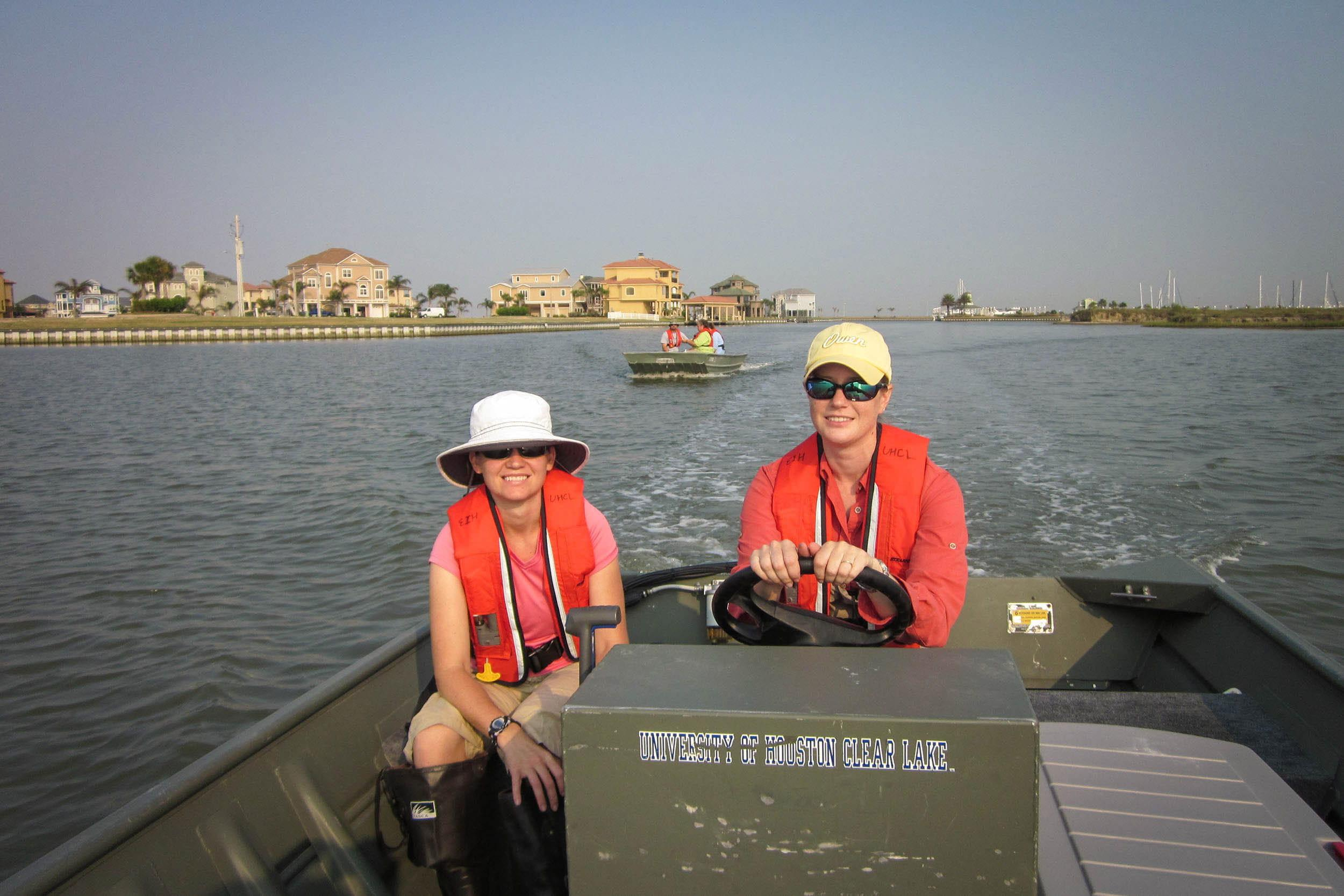 NCWA crew en route to sampling location in Galveston County