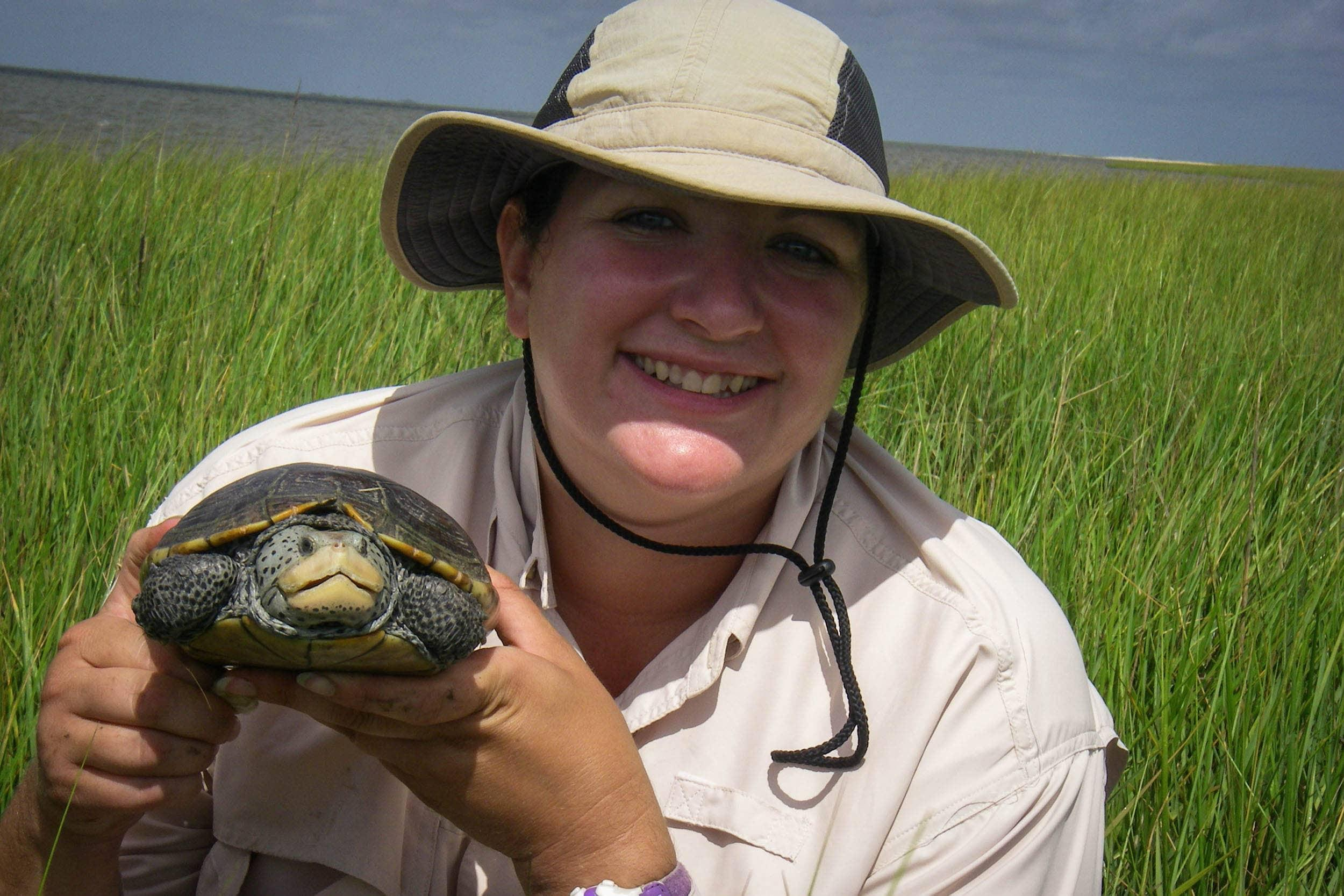 Dianna Ramirez, research associate, holds a diamond-backed terrapin captured at Galveston Island
