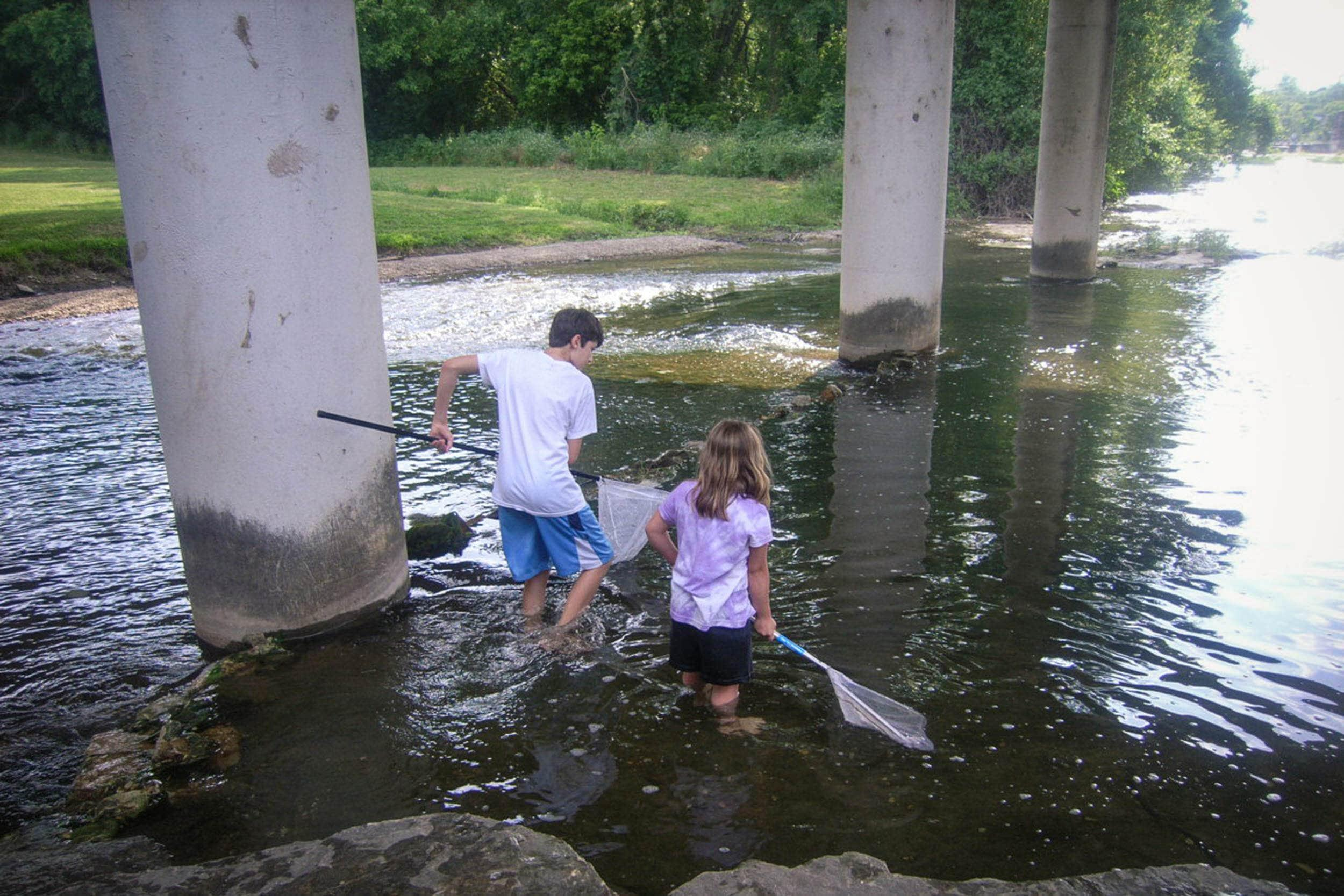 Children try to catch fish at Brushy Creek