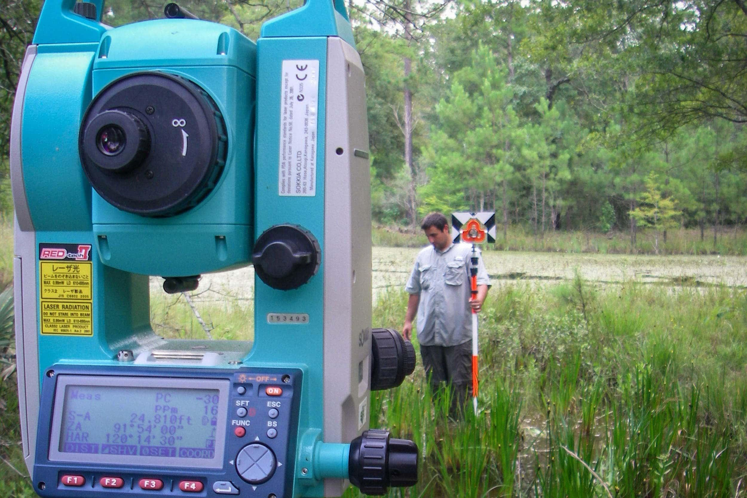 Michael Franks, research assistant, and total station equipment