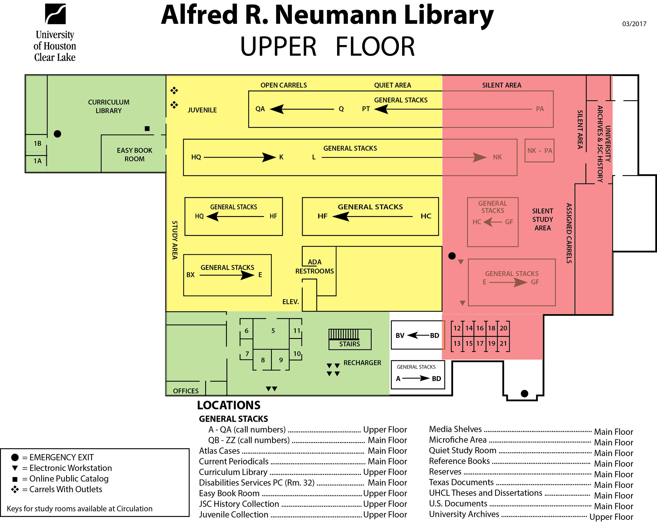Library Upper Floor Map