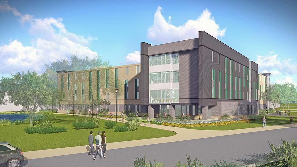 Artist rendition of Residence Hall with students walking toward the building.